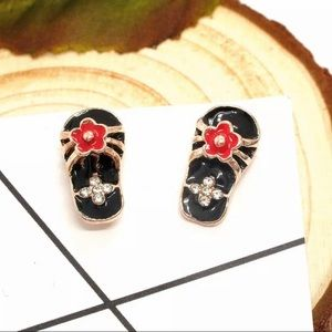 NWT•Betsey Black & Red flipflop post earrings